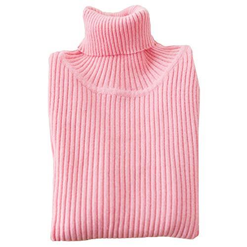 Shengwan Rollkragenpullover Kinder Baby Mädchen Junge Langarm Pulli Strickpullover Pink 100