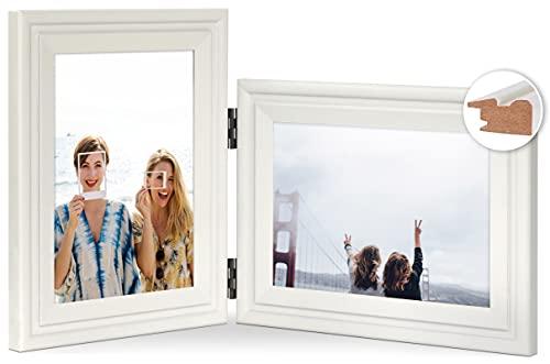 JD Concept Combo Vertical Horizontal de 13x18 cm, Marco de Fotos Doble de Madera con bisagra, Montaje en Pared o Escritorio, Retrato y Paisaje, Panel de Cristal, Blanco