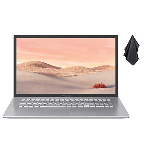 "2021 Newest ASUS VivoBook 17.3"" Thin and Light Laptop, FHD Display, Ryzen 3 3250U Processor, 8GB RAM, 512GB SSD, HD Webcam, HDMI, AMD Radeon Vega 3 Graphics, Transparent Silver, Win 10 + Oydisen Cloth"