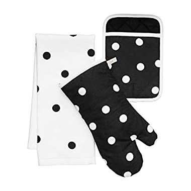 Kate Spade New York 3pc Kitchen Set - Oven Mitt, Pot Holder & Kitchen Towel (Black Dots)