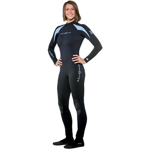 NeoSport Wetsuits Women's XSPAN Full Jumpsuit, Powder Blue Trim, 10 - Diving, Snorkeling & Wakeboarding by NeoSport