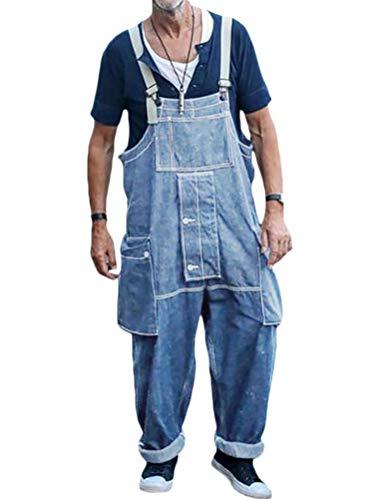 Minetom Herren Jeans Latzhose Overall Arbeitshosen Lange Jeanshose Retro Denim Arbeitslatzhose Jumpsuit Multifunktion Hose Arbeitskleidung Loose Fit A Hellblau 3XL