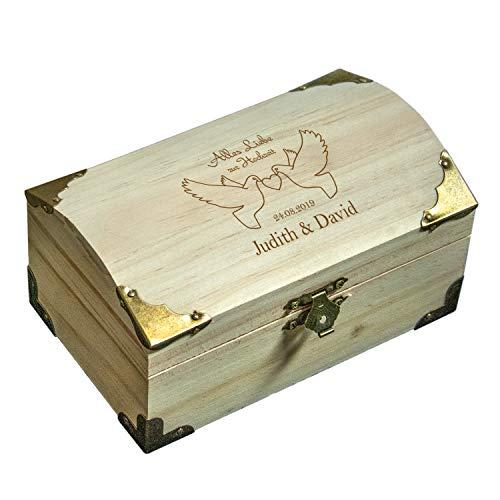 Holz Schatzkiste Taubenmotiv mit Gravur: Schatztruhe mit Namen und Datum personalisiert - Geldgeschenk zur Hochzeit - Hochzeitsgeschenk, persönlich und originell (groß)