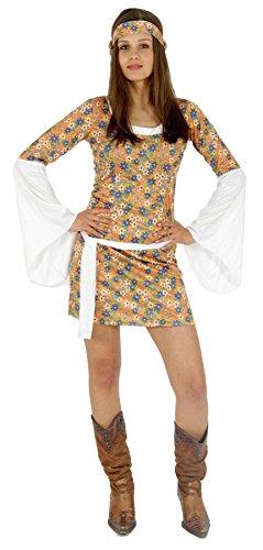 Foxxeo buntes 60er 70er Jahre Hippie Blumen Kleid mit Haarband für Damen sexy Karneval Fasching Kostüm Party Größe L