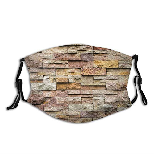 Comfortable Printed mask,Urban Brick Slate Stone Wall With Rocks Featured Facade Architecture Town Picture,Windproof Facial decorations for man and woman