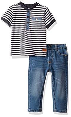 7 For All Mankind Baby Boys 2 Piece Set, Henley Navy Stripe, 18M
