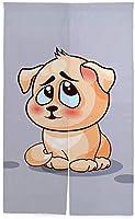 TINZZEROS のれん おしゃれ 考の子犬 漫画 開運のれん 柔らかい おしゃれ 感あふれる 日よけ暖簾 ストライプ 和の雰囲気 透ける 空間に大変身 突っ張り棒付き 幅85㎝×丈90㎝