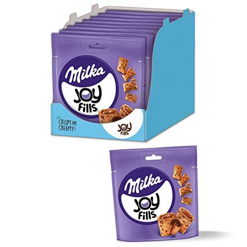 Milka Joyfills 8 x 90g, Luftig-lockere Knabberei mit knuspriger Kekshülle und softer Füllung aus Milka Alpenmilchschokolade