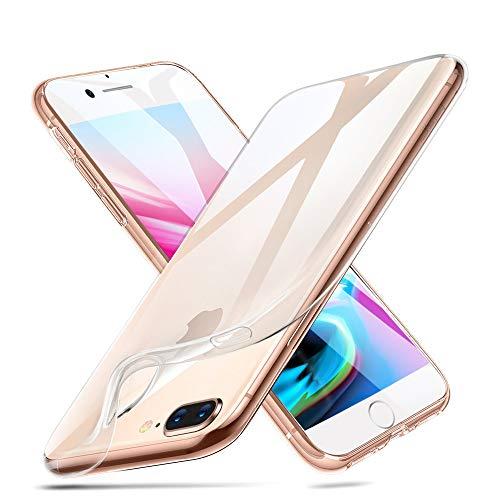 Telefoonhoes voor Apple iPhone 7 Plus/iPhone 8 Plus, transparant, ultradun, 1,0 mm, TPU-case, beschermhoes, doorzichtig, zacht, kristalhelder, krasbestendig, aanpasbaar