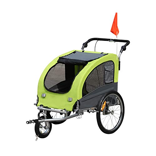 Aosom Elite II 2-in-1 Pet Dog Bike Trailer and Stroller with Suspension and Storage Pockets, Green