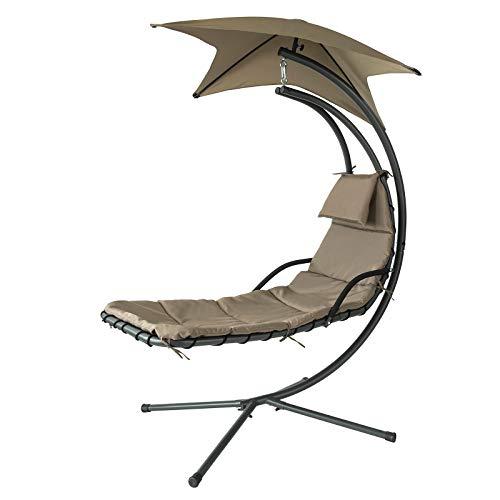 SoBuy OGS39-BR Ligbed met Parasol Zonneluifel Hangstoel Modern Lounge Draagvermogen 120kg - Bruin
