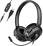 NPET CH10 USB Headset with Microphone Noise Cancelling & Audio Controls, 3.5mm Audio Jack Stereo Computer Headphones for PCs, Tablets, Skype, Webinar, Cell Phone, All-Day Comfort Design