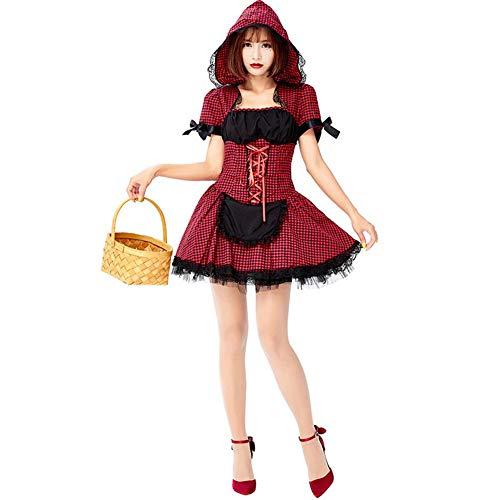 ALXDR Disfraz De Caperucita Roja para Mujer Capa con Capucha Disfraz De Halloween Cosplay Maquillaje Vestido De Fiesta, Tamao Libre,E