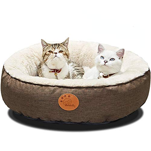 cat beds HACHIKITTY Washable Donut Cat Bed Round, Cat Beds Indoor Cats Medium, Big Cat Bed Machine Washable, 24
