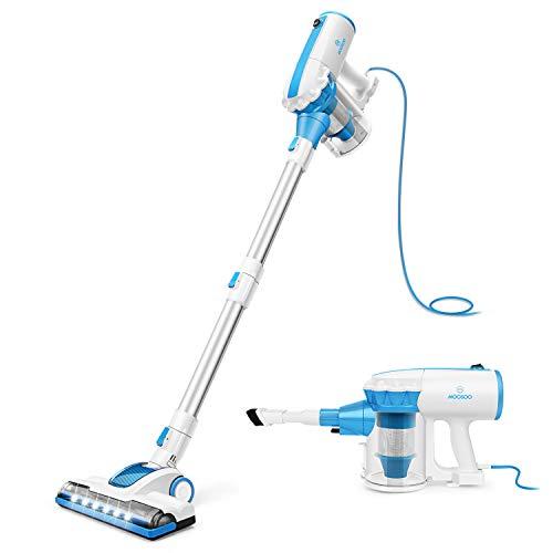 MOOSOO Vacuum Cleaner Corded 4-in-1 Bagless Handheld Vacuum for Carpet and Hard Floor Cleaning with Swivel Steering with 2-Pack HEPA Filters D601
