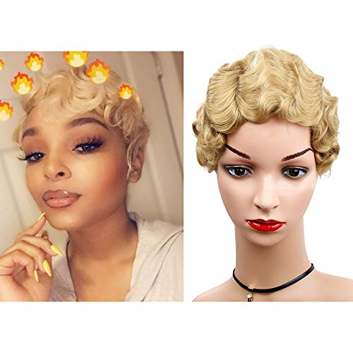 Women Short Wig Blonde Curly Wig Finger Wave Synthetic Nuna Wigs Janet Collection