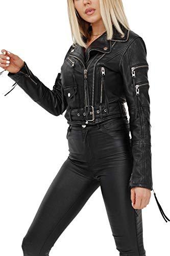trueprodigy Casual Damen Marken Lederjacke Echt Leder Damenjacke Cool Stylisch Vintage Sportlich Und Slim Fit Jacke Für Frauen, Farben:Schwarz, Größe:XS