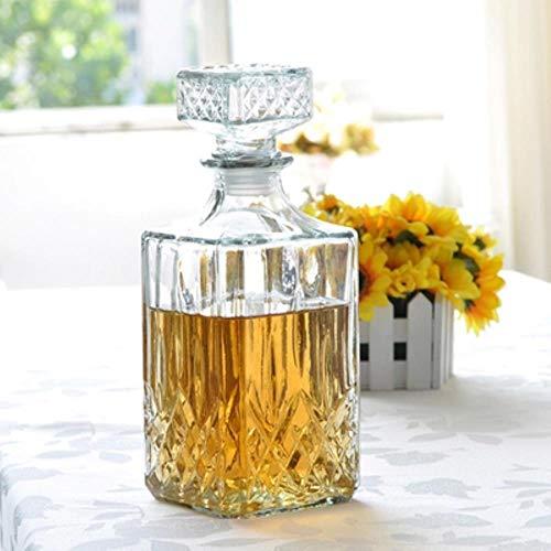 Latte Regalo Taza Mug 1 Unid Botella De Vino De Vidrio Cuadrado De Lujo Sin Plomo Jarra De Whisky Contenedor De Alcohol Vertedor Vino Jarra 800 Ml Jr 1084, Transparente