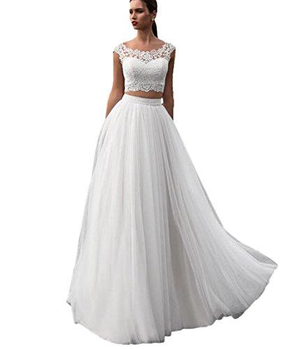 Nanger Damen Tüll Spitze Boho Bohemien Hochzeitskleider Zweiteilig Standesamt Lang Brautkleider Weiß 32
