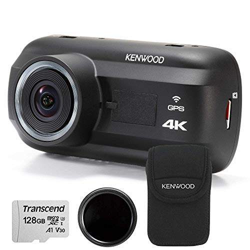 Kenwood DRV-A601W Travel ProPack 4K Dash Cam & 128GB SDXC Card, Polarised Filter + Carry Case
