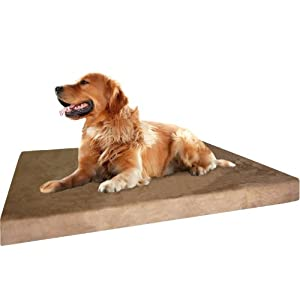 XL Durable Waterproof Dog Bed with Orthopedic Gel Cooling Memory Foam Pad for Medium to Large Pet, Microsuede in Brown Color, 40″X35″X4″