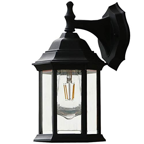 Dasing Dusk to Dawn Outdoor Wall Lights Outer Wall Wall Light Fixtures with Anti-Rust Waterproof Matte Black Wall Lights and Transparent Glass Shade