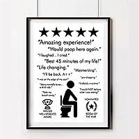ブラックホワイトトイレサインプリントポスター素晴らしい体験が再びここにうんざりする壁アートキャンバス絵画バスルームの装飾  40x60cmフレームなし