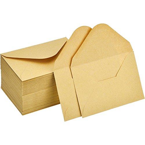 120 Piezas de Mini Sobres de Kraft Sobres de Tarjeta de Regalo Sobre de Tarjeta de Boda Fiesta Oficina Sobres de Aleta Clásica de Piezas Pequeñas, 4,4 x 3 Pulgadas