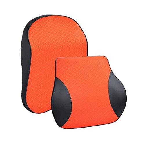 Happyit 3D Memory Foam Reposacabezas para el Coche Almohada + Asiento Almohadilla para la Espalda Almohada Naranja