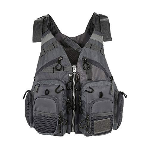 Yalixi - Chaleco salvavidas para adultos, ajustable, para hombre y mujer, para la pesca, canoa, kayak, chaleco salvavidas, camiseta ajustable, cremallera multibolsillos, gris