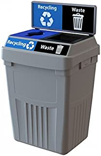 CleanRiver Flex E bin Indoor and Outdoor Sturdy 2-in-1 Waste and Recycling Bin with Backboard FX50B-GY2-R-BE-W-BK, 50 Gallons, Grey
