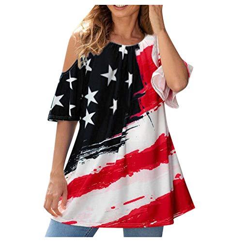 YANFANG Blusa De Manga Corta con Estampado Hombro RocíO para Mujer,Blusas Moda,Camisetas Moda Y Camisas Mujer,Negro,M