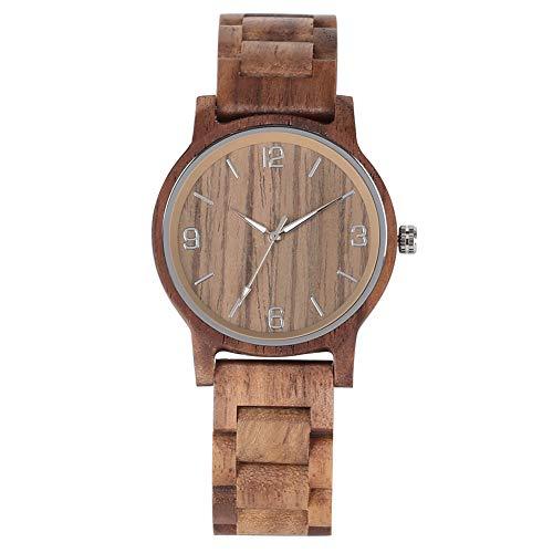 JLySHOP - Orologio da polso in legno di noce casual, da uomo, con lancette luminose, cinturino in legno fatto a mano con chiusura pieghevole