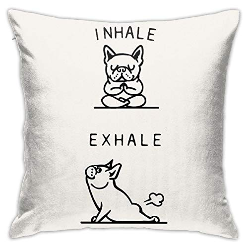 KIILA Inhale Exhale Frenchie Home Decorative Throw Pillow Cases Sofa Couch Cushion Throw Pillow Covers 18x18 Inch