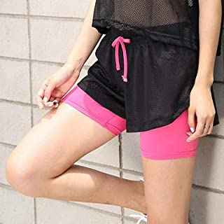 BEESCLOVER Summer New Style Double Layer Fitness Shorts Women Elastic Solid Casual Shorts Female Print Running Shorts