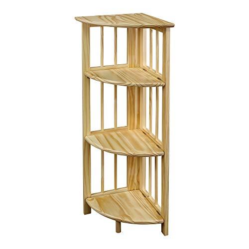 Casual Home 4-Shelf Corner Folding Bookcase, Natural (Glass Maple Bookcase)
