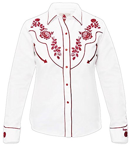 Modestone Women's Embroidered Fitted Western Camisa Vaquera Floral White M