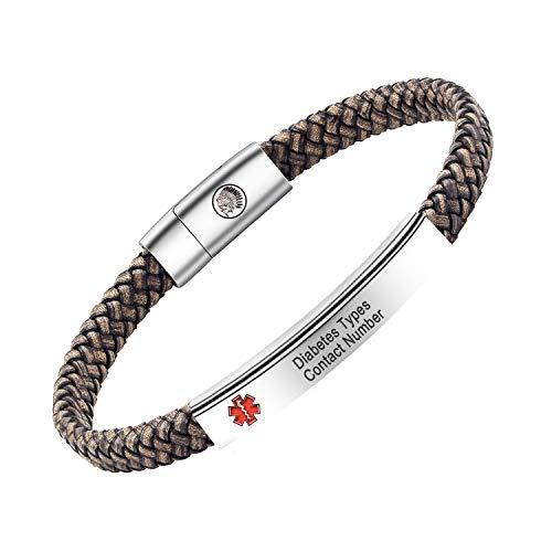Personalised Medical Alert Bracelet for Women Men, Mens Leather Bracelet Engraving Medical Details ID Name Numbers Allergy SOS Awareness Bracelets with Gift Box (Grey, 22)
