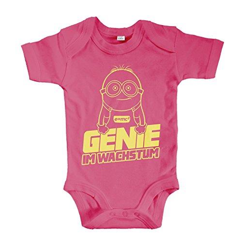 net-shirts Organic Baby Body mit Genie IM WACHSTUM Aufdruck Spruch lustig Strampler Babybekleidung aus Bio-Baumwolle Inspired by Minions, Größe 0-3 Monate, pink