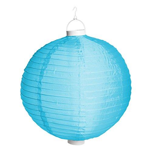 Lanterne Lumineuse Party en Tissu Bleu à Batterie, ø 40 cm, 3 LED Blanc Chaud