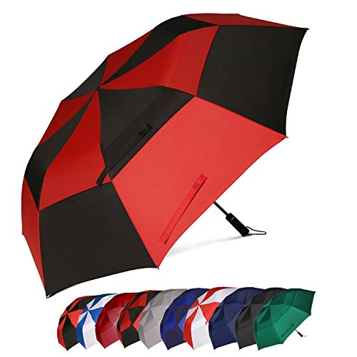 Eono by Amazon - 58 Inch Portable Golf Umbrella Large Windproof Double Canopy - Automatic Open Strong Oversized Rain Umbrellas, Red/Black