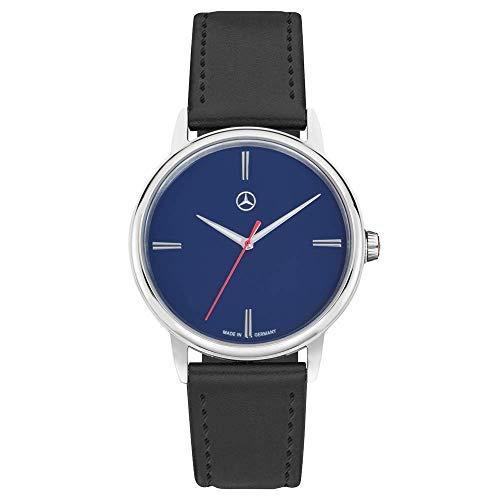 Mercedes Benz Original Reloj Pulsera Hombre Basic Azul Acero Inox. Pulsera de Cuero