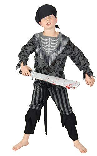Foxxeo Skelett Geister Piraten Kostüm für Kinder Halloween Karneval Pirat Jungen Fasching Größe 122-128