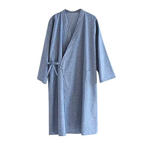 Schlafrock Kimono Herren Männer Pyjama Frühling Sommer Herbst Schlafanzug Baumwolle weich Gemütlich Lange Ärmel Sleepwear modern Schlafshirt Casual Morgenmantel Sleepshirt