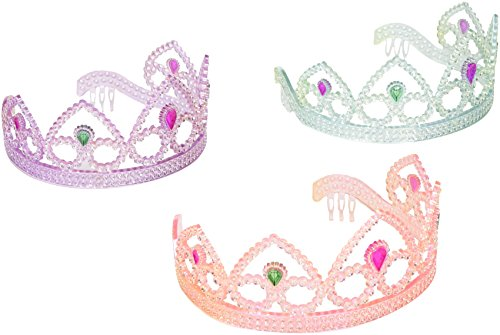 Colorful Princess Party Tiaras, Assorted Colors by SmallToys - Unit of 12