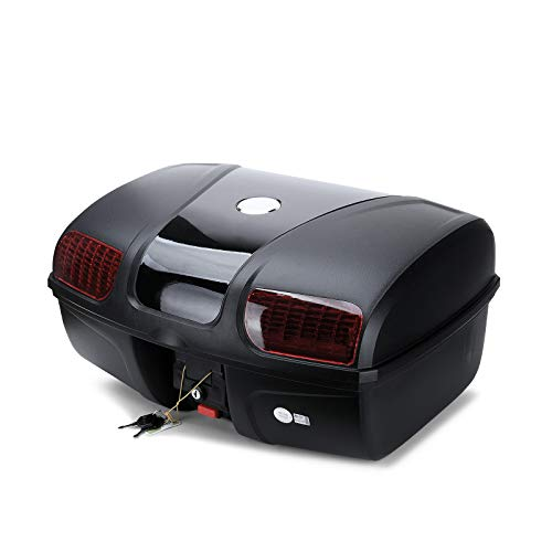 AUTOINBOX Universal Motorcycle Rear Top Box Tail Trunk Luggage Storage Case,47 Litre Hard Case with Mounting Hardware,with LED Light,Black