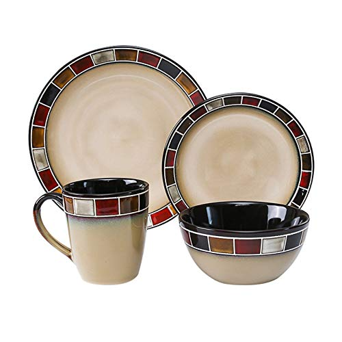 kerryshop Dinner Plate Simple Kitchen Dinnerware Set Household Steak Cutlery Set Durable Ceramic Dinner Plate Sets, Includes Steak Plate Salad Plate Cereal Bowl and Mug Plate (Color : Red)