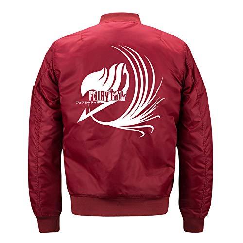 MSBXBB Fairy Tail Chaqueta De Invierno para Hombre, Chaqueta De Piloto De Cuello Alto A La Moda, Abrigo De Uniforme De Bisbol para HombreXXXL