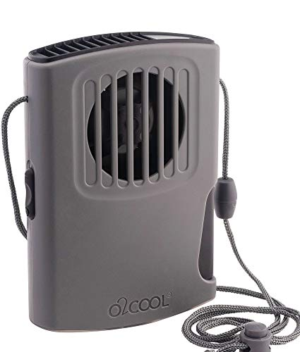 O2COOL Misting Necklace Fan For Personal Cooling With Lanyard, Battery Powered (Grey)