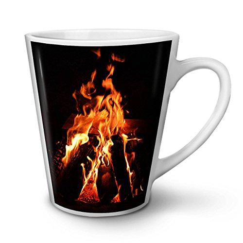 Wellcoda Kamin Feuer Natur Latte BecherGemütlich Kaffeetasse - Komfortabler Griff, Zweiseitiger Druck, robuste Keramik